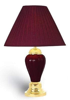 OK Lighting Burgundy Ceramic Table Lamp
