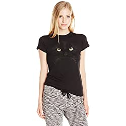 Fifth Sun Juniors Kitty Face Graphic Tee, Black, Medium