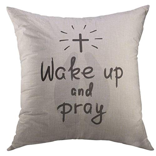 Mugod Throw Pillow Cover Wake Up Pray Motivational Quote Lettering Religious for Prayer Book Church Leaflet Bags Sticker Home Decor for Couch Sofa Decorative Pillow case 18x18 Inch