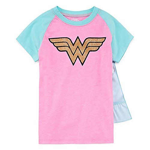 DC Comics Wonder Woman Girls T-Shirt With Cape (Small)