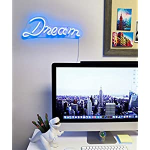 "Isaac Jacobs 17″ by 6″ inch LED Neon Blue ""Dream"" Wall Sign for Cool Light, Wall Art, Bedroom Decorations, Home Accessories, Party, and Holiday Decor: Powered by USB Wire (Dream)"