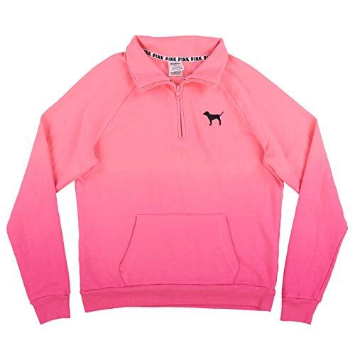 Victoria's Secret Pink Sweatshirt Ombre Quarter Zip Pullover (S, Pink -