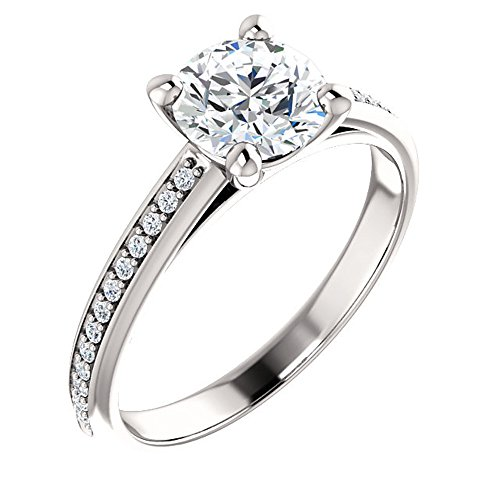 Forever Brilliant Moissanite & Diamond Cathedral-Style Engagement Ring in 14k White or Yellow Gold (white-gold, 4) Cathedral Four Prong