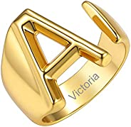 GoldChic Jewelry Personalized Gold Bold Initial Letter Open Ring Adjustable Women Statement Rings Party|Women'