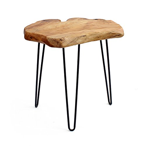 WELLAND Cedar Wood Stump End Table Rustic Surface Side Table 3-Leg Metal Stand (Wood Natural Table Modern)