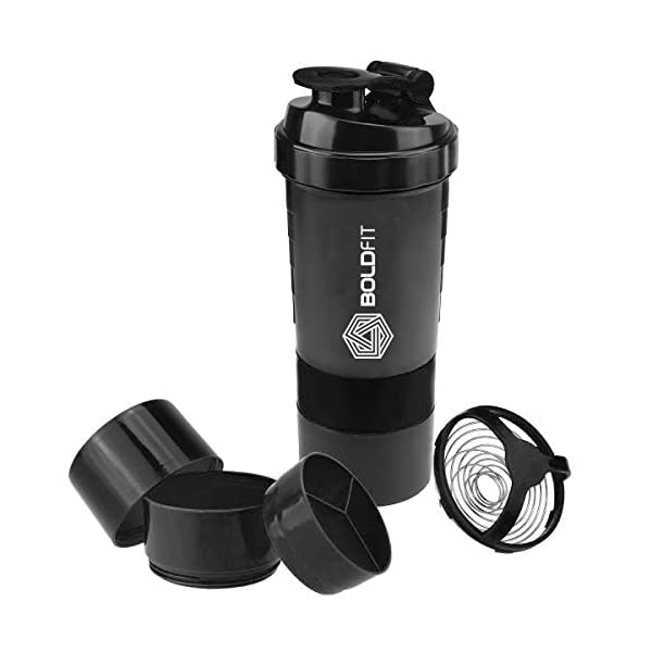 Boldfit Gym Spider Shaker Bottle 500ml with Extra Compartment, 100% Leakproof Guarantee, Ideal for Protein, Preworkout and BCAAs, BPA Free Material … 4