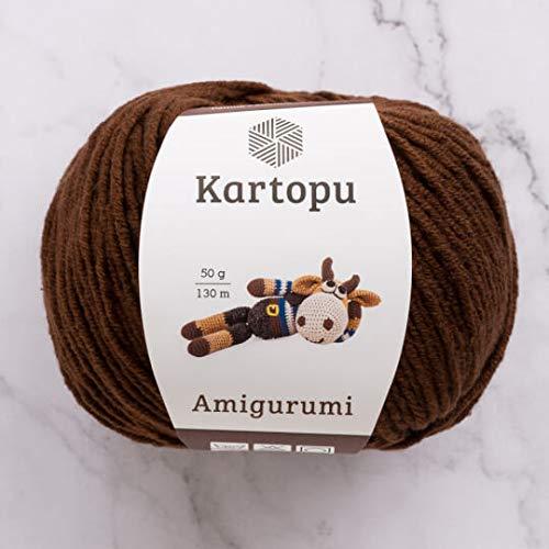 3 Ball Kartopu Amigurumi Total 10.5 Oz Each 1.76 Oz (50g) / 142 Yrds (130m), 49% Cotton, Super Soft, Dk Light Baby Yarn, K890-Brown