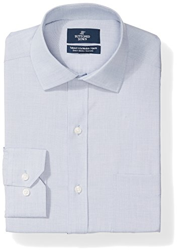 BUTTONED DOWN Men's Tailored Fit Stretch Poplin Non-Iron Dress Shirt, Chambray Blue, 17