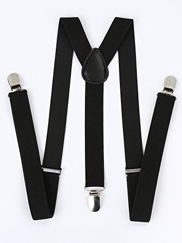 Satinior Suspender Bow Tie Set Clip On Y Shape Adjustable Braces, Pant Suspenders Braces Adjustable Shoulder Straps for Adults and Children