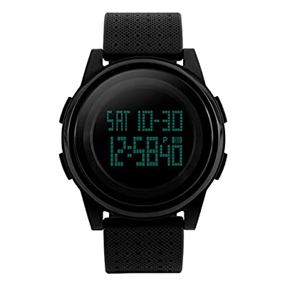 Men Sport Digital Watch, Waterproof Electronic Military 24H Dual Two Time Quartz Casual LED Back Light Thin Unique Simple Design 50M Water Resistant Calendar Month Date Day - Black