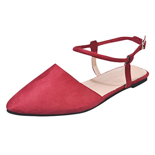 Cenglings Women's Casual Pointed Toe Solid Slingback Shoes Rome Sandals Ankle Strap Buckle Sandals Office Work Flat Shoes Red