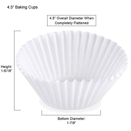 "Bulk White Fluted Paper Baking Cup Liners 500/pkg (1000, 4.5"")"