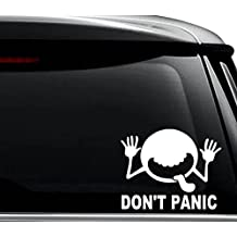 Don't Panic Hitchikers Guide Galaxy Decal Sticker For Use On Laptop, Helmet, Car, Truck, Motorcycle, Windows, Bumper, Wall, and Decor Size- [6 inch] / [15 cm] Wide / Color- Gloss White