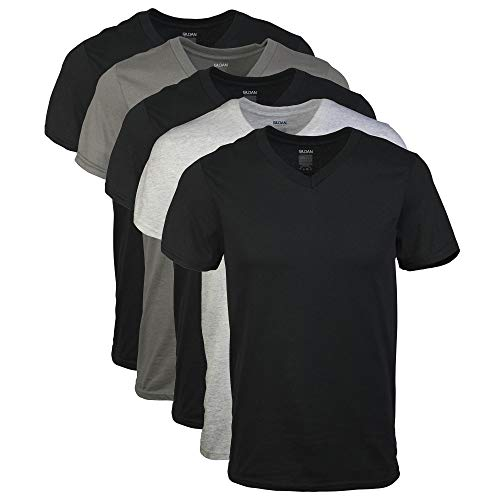 Gildan Men's V-Neck T-Shirts 5 Pack, Multi,