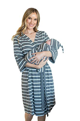 Baby Be Mine Maternity Labor Delivery Matching Robe and Swaddle Blanket and Hat Set, Hospital Bag Must Have (S/M 0-10, Grey Stripe) ()