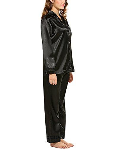 a pigiameria Set maniche lunghe pigiama HOTOUCH donne delle raso Nero2 in OzBqxdw