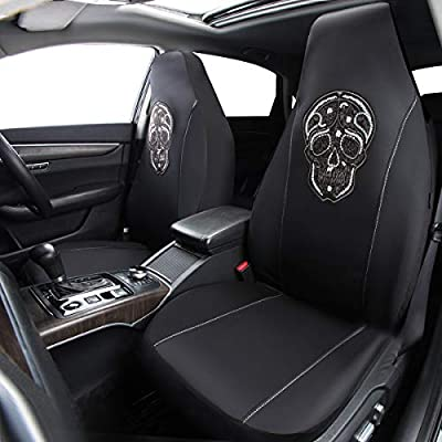 CAR PASS Skull Design Universal Fit Two Front Seat Covers, Airbag Compatible,Elegant Black and White (2PCS): Automotive