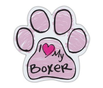 Lancy's Artwork Pink Scribble Paws: I Love My Boxer, Dog Paw Shaped Car Stickers - Sticker Graphic - Auto, Wall, Laptop, Cell, Truck Sticker for Windows, Cars, Trucks, Tool Boxes, laptops (Autos Scribble)