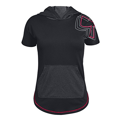 Under Armour Girls Tech Short sleeve Hoody, Black (001)/Penta Pink, Youth X-Large