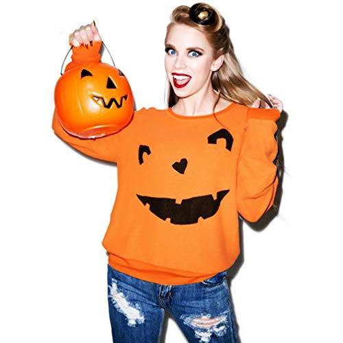 zahuihuiM Femmes Halloween Sweat Pull Citrouille Imprimer Solide Couleur Col Rond  Manches Longues Tops Blouse pour Fte A Orange