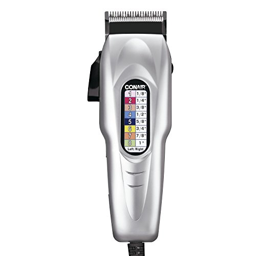 Conair Number Cut 20-piece Haircut Kit, Home Hair Cutting Kit with Number-Coded Clipper and Easy-to-Read Chart, Silver