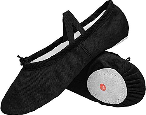 JOINFREE Girl's Women's Ballet Flats Canvas Ballet Slipper/Ballet Shoe/Yoga Leather Sole Black 9.5 B(M) US Women ()
