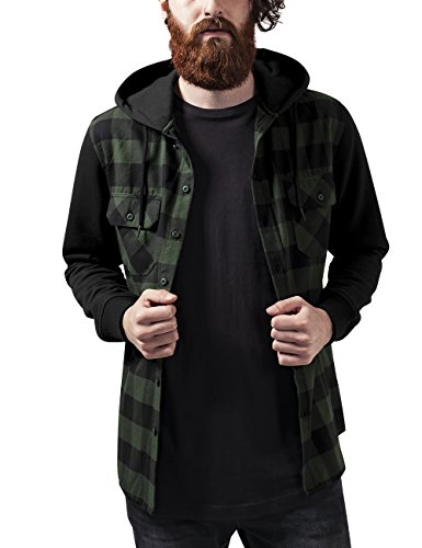 Camisa Flanell Blk Hombre Sweat 797 Shirt Classics Sleeve Forest para Blk Mehrfarbig Urban Checked Hooded qz0SOt
