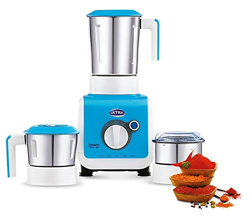 Ultra Stealth 750-Watt 3 Jar Mixer Grinder, 110 Volts, Medium, Blue