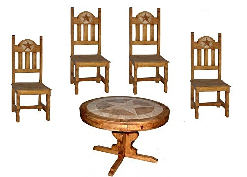 Rustic Round Marble Star Dining Table Set With 4 Chairs