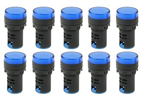 "TOVOT Indicator Lights AC/DC 110V, Energy Saving LED Signal Lights, Flush Panel Mount 7/8"" 22mm,AD16-22DS-10PCS (Blue)"