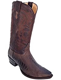 Men's Sinp Toe Genuine Leather Ostrich Leg Skin Western Boots - Exotic Skin Boots