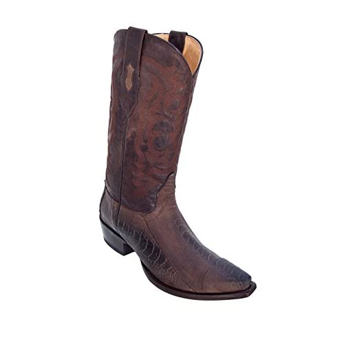 6ff472fe0df5 Men's Sinp Toe Genuine Leather Ostrich Leg Skin Western Boots - Exotic Skin  Boots low-cost