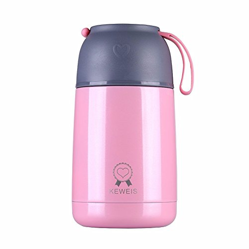 Vacuum Insulated Food Jar 21oz Stainless Steel Thermos Flask with A Disposable Folding Spoon (Pink) (Kids Soup Mug)