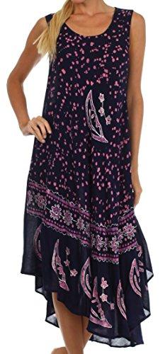 Sakkas B900 Batik Moon and Stars Caftan Tank Dress/Cover Up - Navy/Pink - One Size (Batik Caftan Dress)