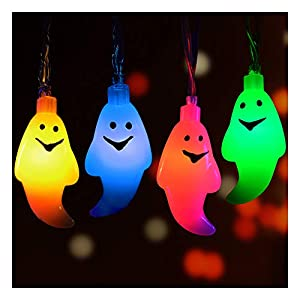 Calans Halloween String Lights, Halloween Light Decoration 11 Feet Ghost Light 30 LED String Lights Ghost Lantern Indoor…