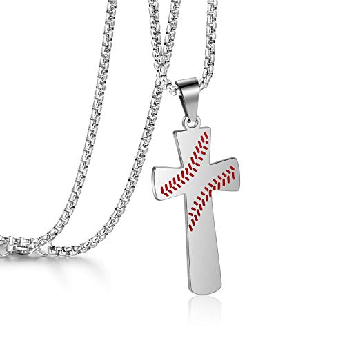 AB Max Baseball Cross Pendant - I CAN DO All Things Strength Bible Verse Stainless Steel Necklace Gifts for Boys Men Women with 24
