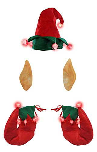Light Up Elf Hat and Ears Costume Set, Multi, One Size Red Green]()