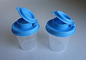 Tupperware Mini Salt & Pepper Shakers 2oz Clear with Teal Blue Tops