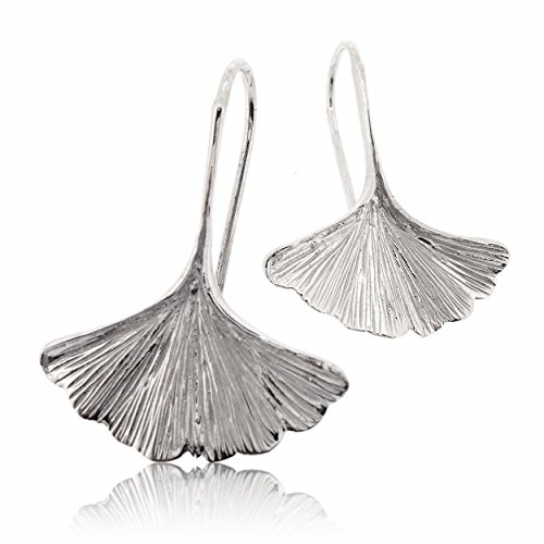 (Sovats Ginkgo Leaf Earring For Women 925 Sterling Silver Rhodium Plated - Simple, Stylish Dangle Earring&Trendy Nickel Free Earring)