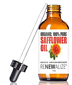 SAFFLOWER SEED OIL FACE MOISTURIZER - 4 oz. Dark Glass Bottle with Dropper   High linoleic facial serum regimen for acne and oily skin   Best all natural breakout skincare treatment for men and women