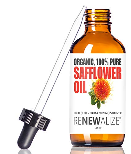 Oil Safflower Moisturizer (SAFFLOWER SEED OIL FACE MOISTURIZER - 4 oz. Dark Glass Bottle with Dropper | High linoleic facial serum regimen for acne and oily skin | Best all natural breakout skincare treatment for men and women)