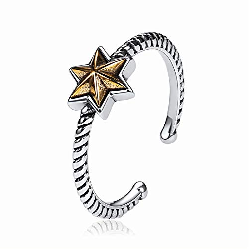 NoFade Sterling Silver Knuckle Rings Jewish Star of David Vintage Twisted Rope Band Adjustable Open Rings