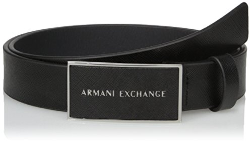 (Armani Exchange Men's Saffiano Belt With Logo Rectangle Buckle, black, 30)