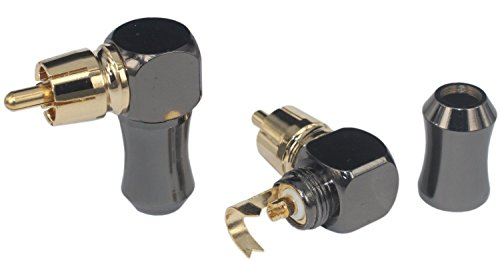 [2Pcs 90° Angle] Hi End RCA Male Plug Adapter Audio Phono Gold Plated Solder Connector KK-01