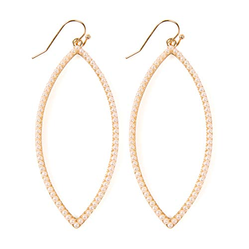 RIAH FASHION Sparkly Rhinestone Simple Lightweight Geometric Open Hoop Drop Earrings - Cubic Zirconia Crystal Cut-Out Dangles Teardrop, Pear, Pointy Marquise Oval (Pointy Leaf - Gold Pearl) (Casual Earrings Gold)