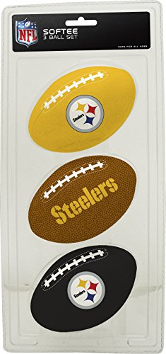 Pittsburgh Steelers Soft Football - NFL Pittsburgh Steelers Kids Softee Football (Set of 3), Small, Black