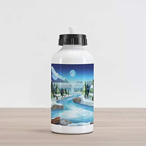 Ambesonne Northwoods Aluminum Water Bottle, Fantastic Winterland Illustration with Low Poly Style River Mountains and Forest, Aluminum Insulated Spill-Proof Travel Sports Water Bottle, Multicolor -