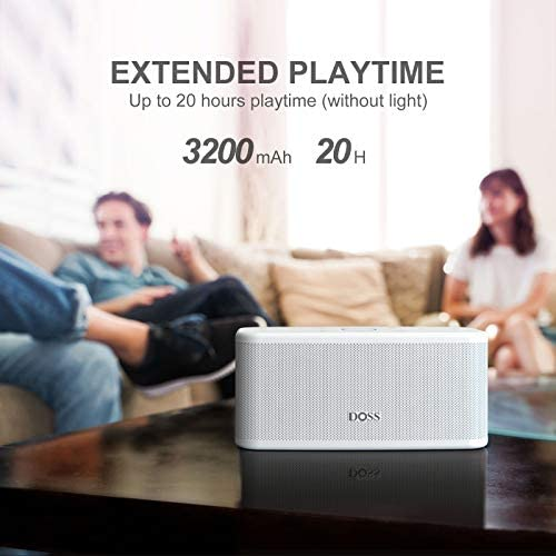DOSS SoundField Plus Portable Wireless Bluetooth Speaker with HD Sound and Deep Bass, Wireless Stereo Pairing, Built-in Mic, 20H Playtime, Portable Wireless Speaker for Home, Outdoor, Travel-White