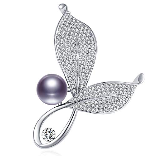 RAINBOW BOX Leaf and Pearl Brooch Pins Fashion, Crystal with Swarovski Jewelry Women's Brooches & Pins