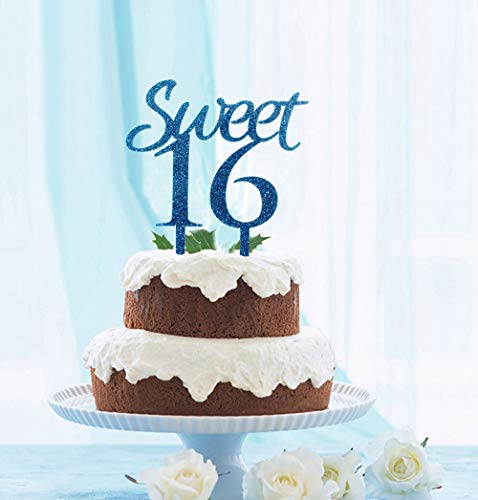 GrantParty Sweet 16 Cake Topper Blue Glitter- Sweet Sixteen Cake Topper - Happy 16th Birthday or Wedding Anniversary Party Decorations Supplies(Blue) -